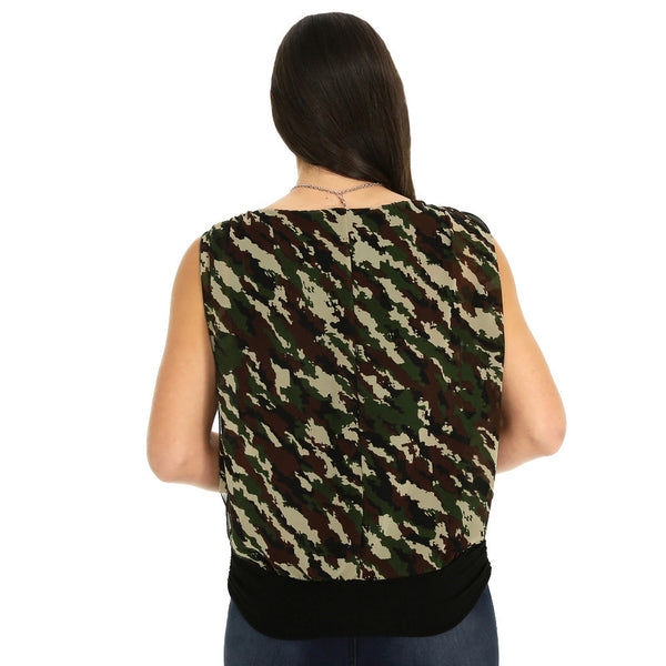 Print At Play Ruched Camo Top With Necklace - Citi TrendsPlus - 2