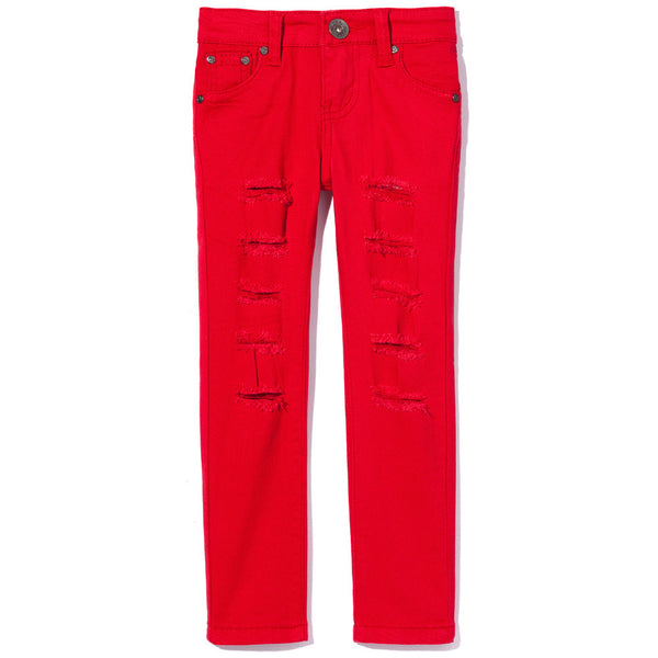 Red Ripped And Tear Denim Skinny Jean - Citi Trends Girls - Front