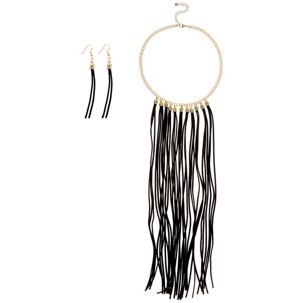 Black Long Fringe Gold Chain Bib Necklace and Earring Set - Citi Trends Accessories