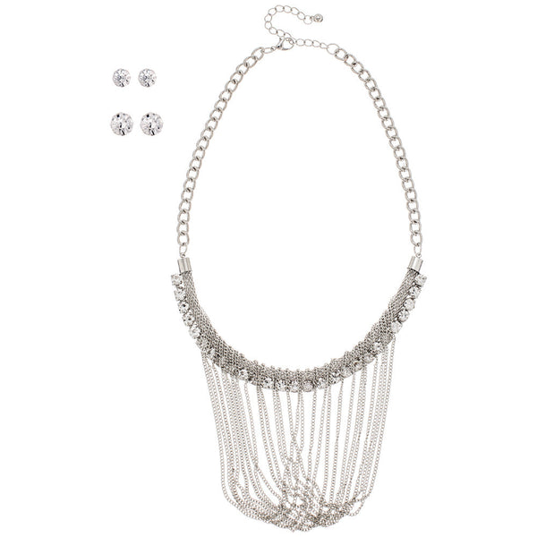 Silver And Rhinestone Mesh Swoop Chain Necklace And Stud Earring Set - Citi Trends Accessories