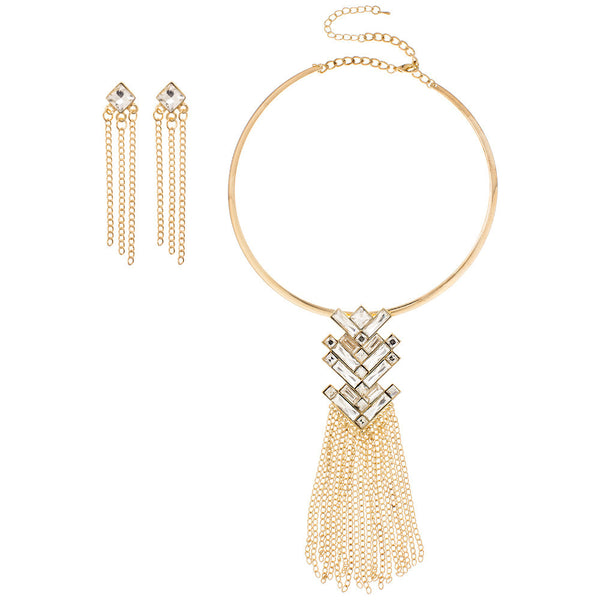 Gold/Rhinestone Arrow Fringe Collar Necklace And Earring Set - Citi Trends Accessories