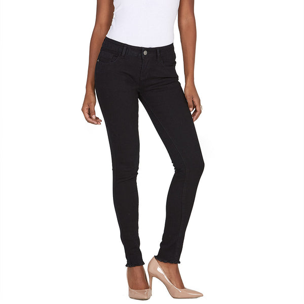 The Frays That Pays Black Super Stretch Skinny Pant - Citi Trends Ladies and Plus - Front