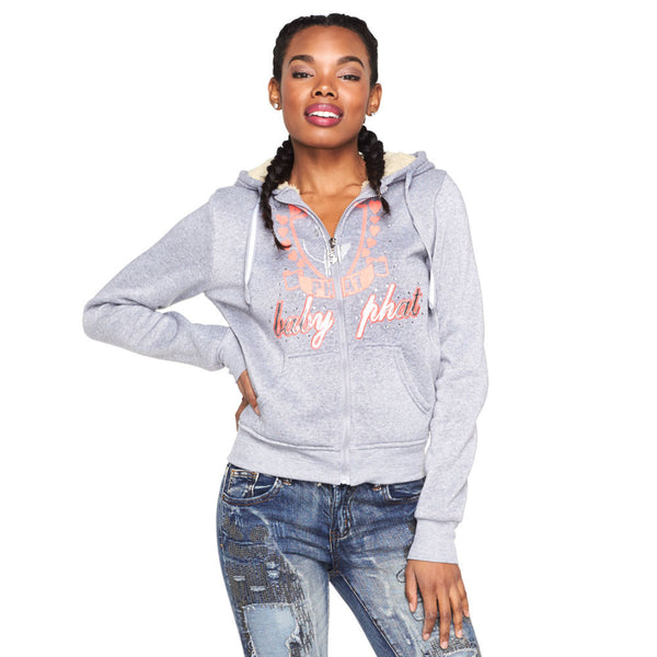 From The Heart Baby Phat Grey Faux Fur Lined Hoodie - Citi Trends Ladies and Plus - Front
