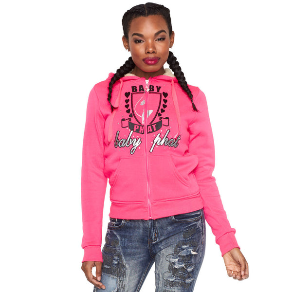 From The Heart Baby Phat Neon Fuchsia Faux Fur Lined Hoodie - Citi Trends Ladies and Plus - Front