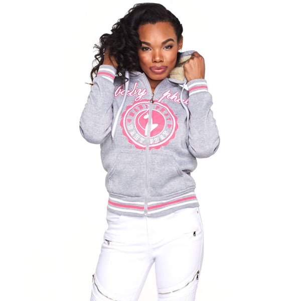 Crest To Impress Baby Phat Grey Faux Fur Lined Hoodie