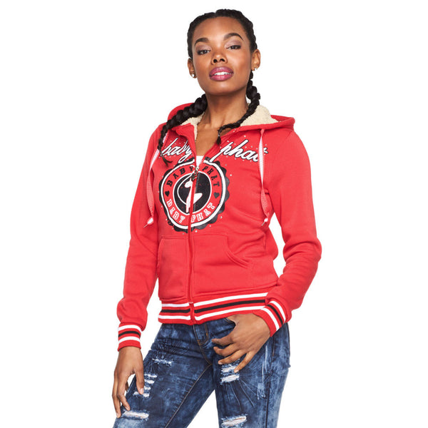 Crest To Impress Baby Phat Red Faux Fur Lined Hoodie - Citi Trends Ladies and Plus - Front