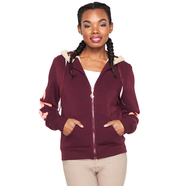 Cold Comfort Baby Phat Burgundy Faux Fur Lined Hoodie - Citi Trends Ladies and Plus - Front
