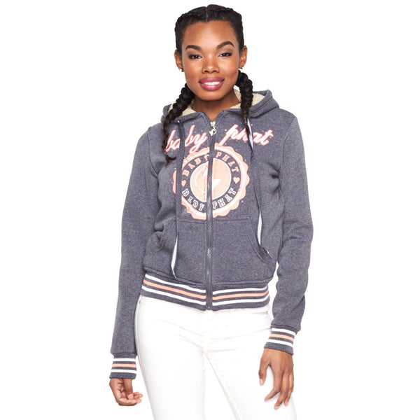 Crest To Impress Baby Phat Charcoal Faux Fur Lined Hoodie - Citi Trends Ladies and Plus - Front