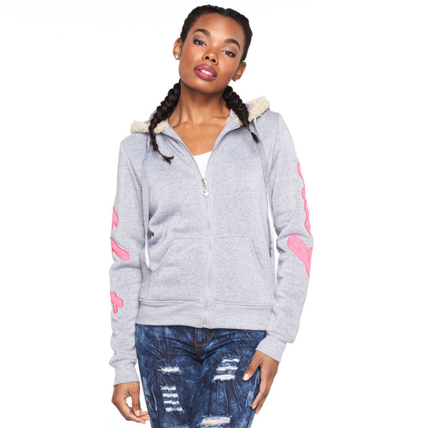 Cold Comfort Baby Phat Grey Faux Fur Lined Hoodie - Citi Trends Ladies and Plus - Front