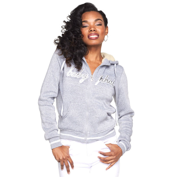 Chill Out Baby Phat Grey/Silver Faux Fur Lined Hoodie - Citi Trends Ladies and Plus - Front