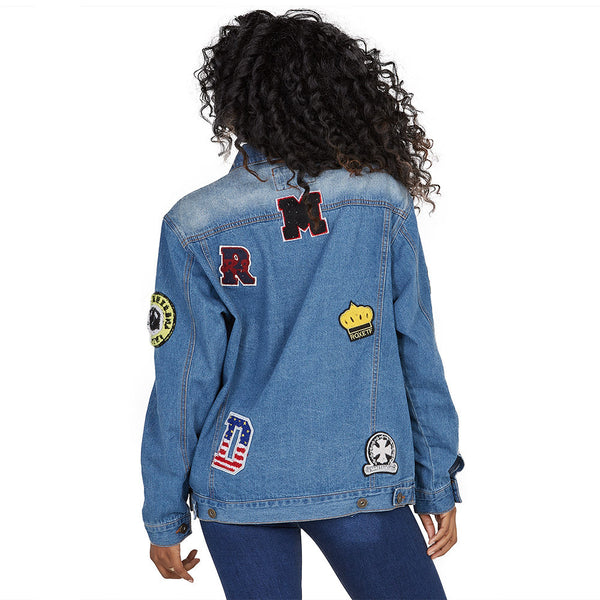 Far Out Patchwork Oversized Denim Jacket - Citi Trends Ladies and Plus - Back