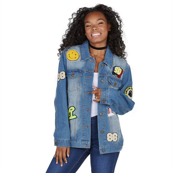 Far Out Patchwork Oversized Denim Jacket - Citi Trends Ladies and Plus - Front