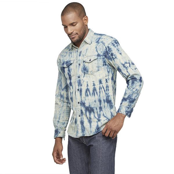 Tie Dye Dashing Denim Button-Down - Citi Trends Mens - Front