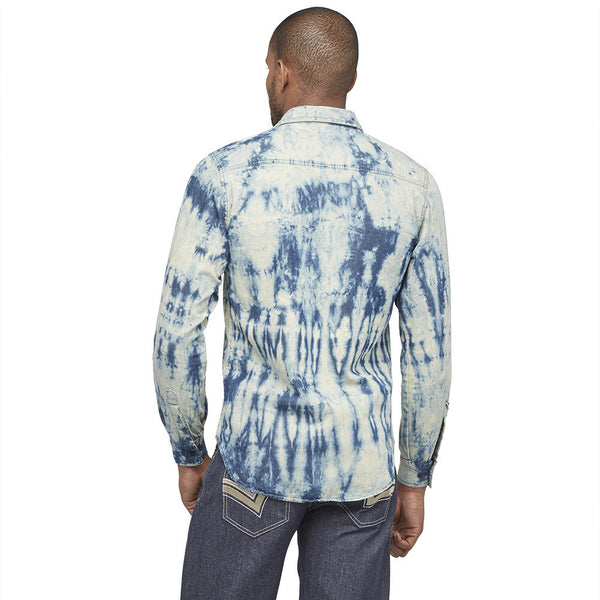Tie Dye Dashing Denim Button-Up - Citi Trends Mens -Back