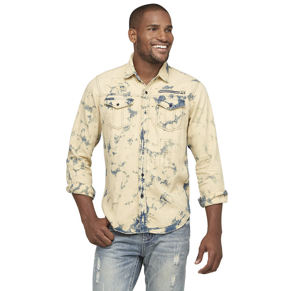 A Crinkle In Time Distressed Denim Button-Down - Citi Trends Mens - Front