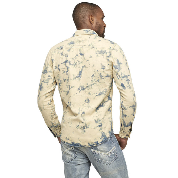 A Crinkle In Time Distressed Denim Button-Up - Citi Trends Mens - Back