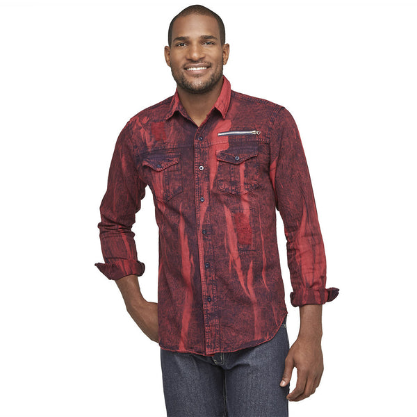 A Crinkle In Time Red Distressed Denim Button-Up - Citi Trends Mens - Front