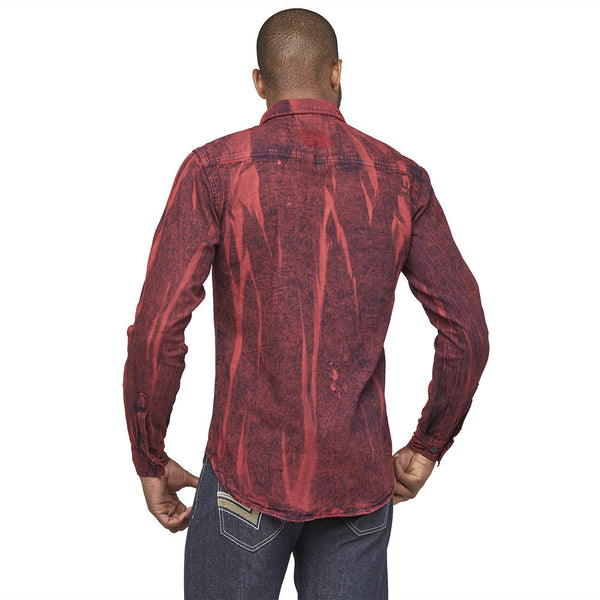 A Crinkle In Time Red Distressed Denim Button-Up - Citi Trends Mens - Back