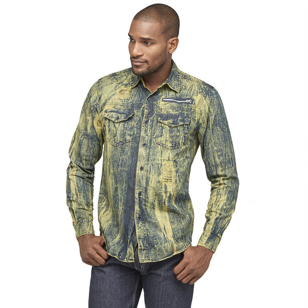 A Crinkle In Time Dark Blue Distressed Denim Button-Up - Citi Trends Mens - Front