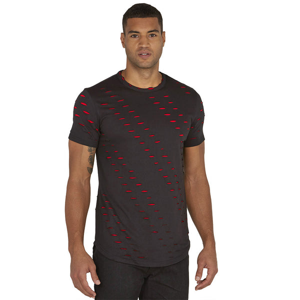 Double Take Black/Red Distressed Curve-Hem Tee - Citi Trends Mens - Front