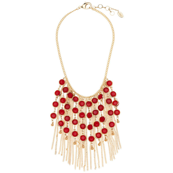 Amrita Singh Gold-Tone Bib Necklace with Chain Fringe and Ruby Resin Stones - Citi Trends Accessories