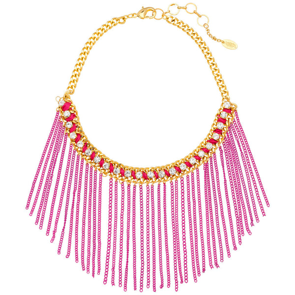Amrita Singh Crystal Studded Gold Bib Necklace With Pink Metal Fringe - Citi Trends Accessories