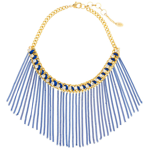 Amrita Singh Crystal Studded Gold Bib Necklace With Blue Metal Fringe - Citi Trends Accessories