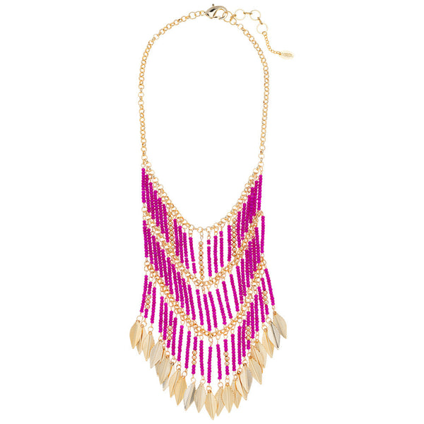 Amrita Singh Gold-Tone Chain Bib Necklace with Dangling Leaves and Pink Resin Beads - Citi Trends Accessories