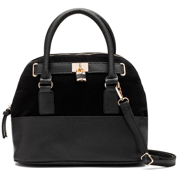 Look On Lock Black Satchel - Citi Trends Accessories - Front