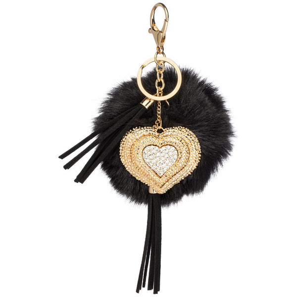 Heart Topic Tassel Pom Pom Keychain - Citi Trends Accessories - Front