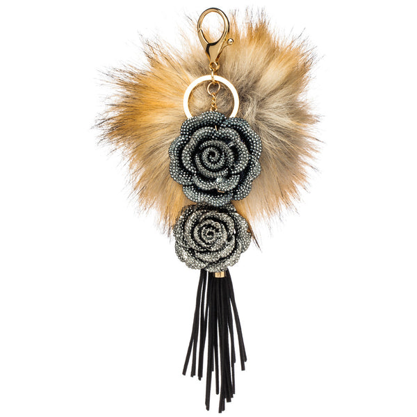 Rose To The Occassion Tassel Pom Pom Keychain - Citi Trends Accessories - Front