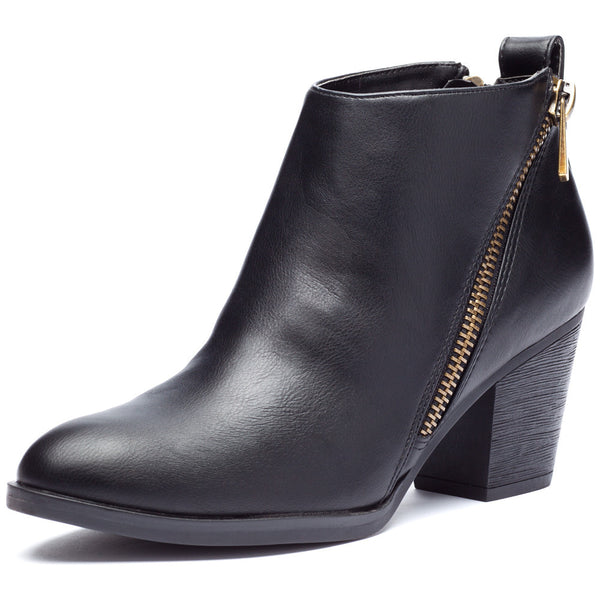 Black Bootie With Side Zipper and Rubber Heel - Citi Trends Shoes - Front