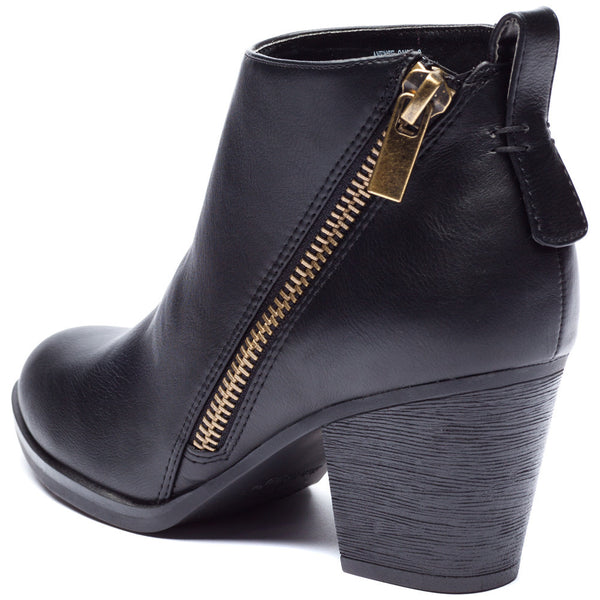 Black Bootie With Side Zipper and Rubber Heel - Citi Trends Shoes - Back