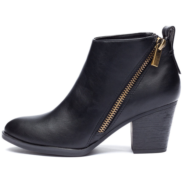 Black Bootie With Side Zipper and Rubber Heel - Citi Trends Shoes - Side