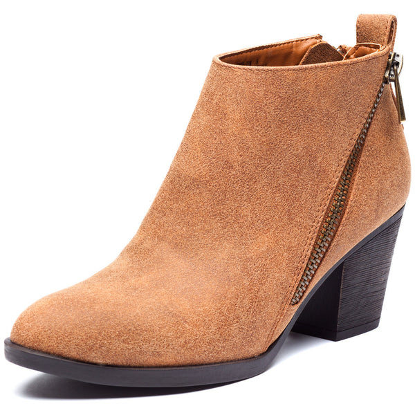 Chestnut Bootie With Side Zipper and Rubber Heel - Citi Trends Shoes - Front