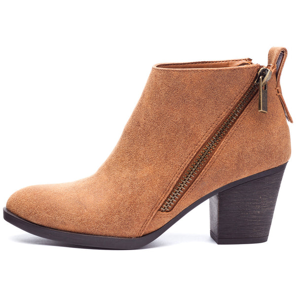 Chestnut Bootie With Side Zipper and Rubber Heel - Citi Trends Shoes - Side