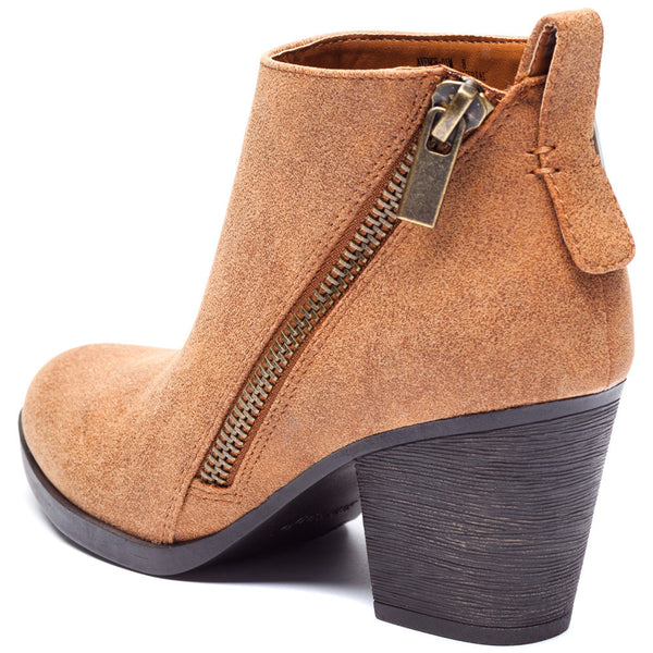 Chestnut Bootie With Side Zipper and Rubber Heel - Citi Trends Shoes - Back