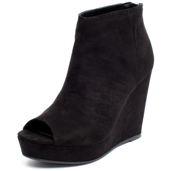 Peek Of Chic Black Peep-Toe Bootie - Citi TrendsShoes - 1