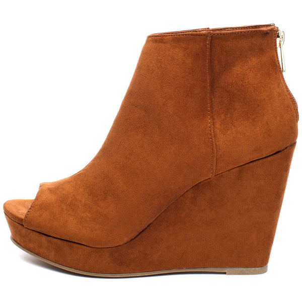 Peek Of Chic Chestnut Peep-Toe Bootie - Citi TrendsShoes - 3