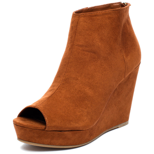 Peek Of Chic Chestnut Peep-Toe Bootie - Citi TrendsShoes - 1