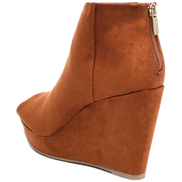 Peek Of Chic Chestnut Peep-Toe Bootie - Citi TrendsShoes - 2