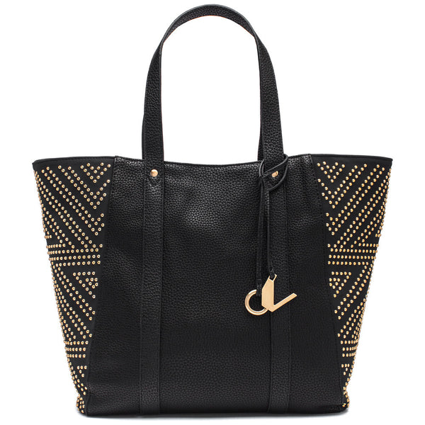 Carmen Marc Valvo Black Tote Bag with Gold Studded Side Panels - Citi Trends Accessories - Front