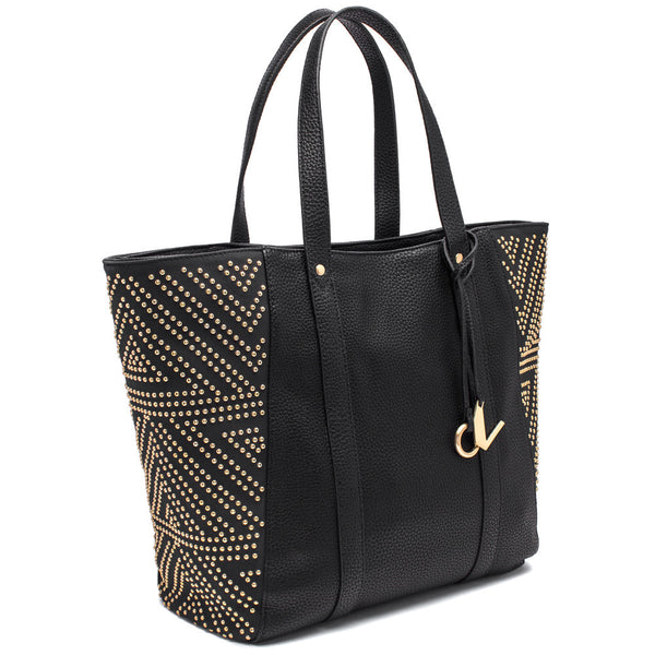 Carmen Marc Valvo Black Tote Bag with Gold Studded Side Panels - Citi Trends Accessories - Side