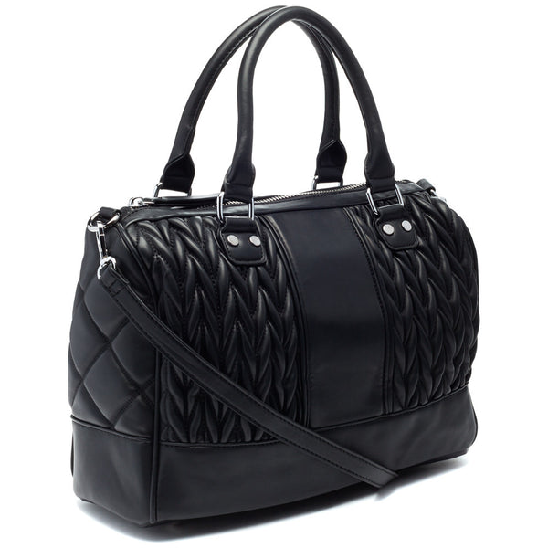 Black Quilted Speedy Satchel - Citi Trends Accessories - Side