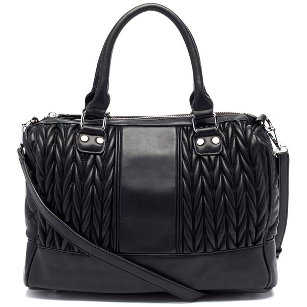 Black Quilted Speedy Satchel - Citi Trends Accessories - Front