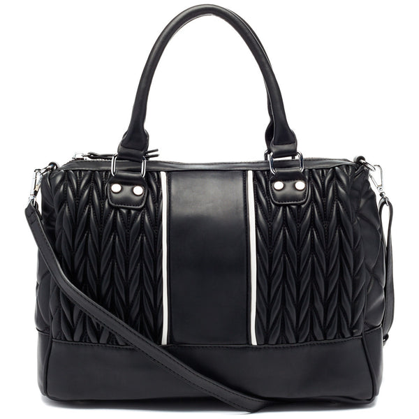 Black/White Quilted Speedy Satchel - Citi Trends Accessories - Front