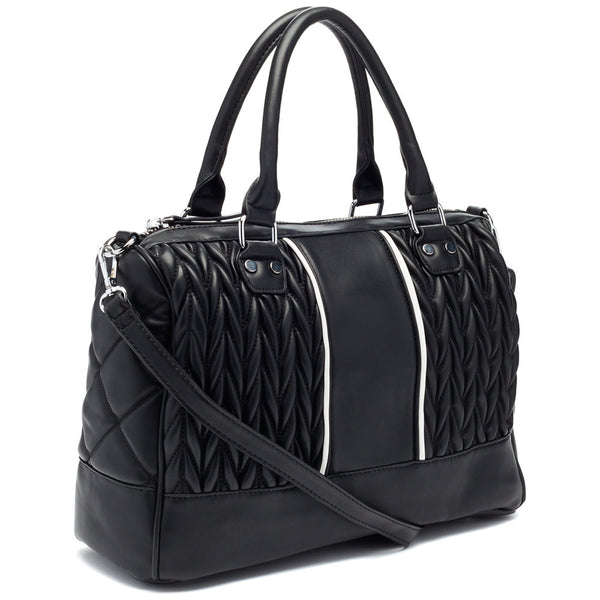 Black/White Quilted Speedy Satchel - Citi Trends Accessories - Side