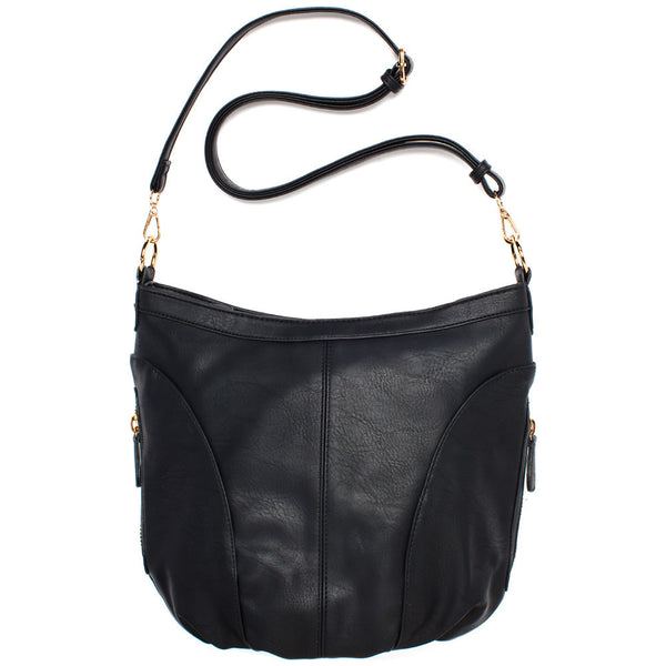 Black Extra Large Sling Crossbody Bag - Citi Trends Accessories - Front