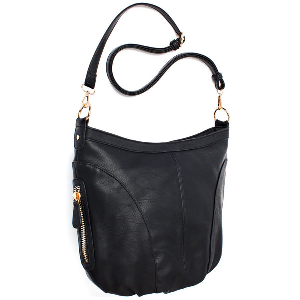 Black Extra Large Sling Crossbody Bag - Citi Trends Accessories - Side