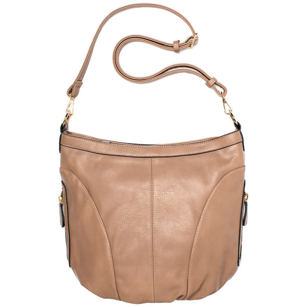 Taupe Extra Large Sling Crossbody Bag - Citi Trends Accessories - Front